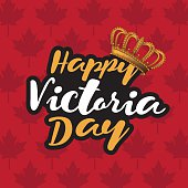 Happy Victoria Day icon with Canada flag and crown.