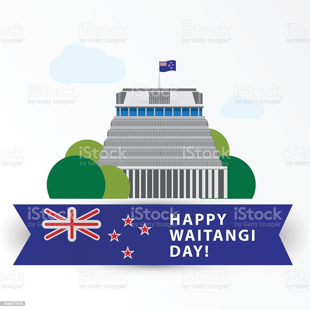 Happy Waitangi day,  6 February. New Zeland Wellington vector art illustration