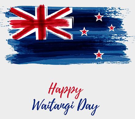 Happy Waitangi Day New Zealand Holiday Stock Illustration - Download Image Now - iStock