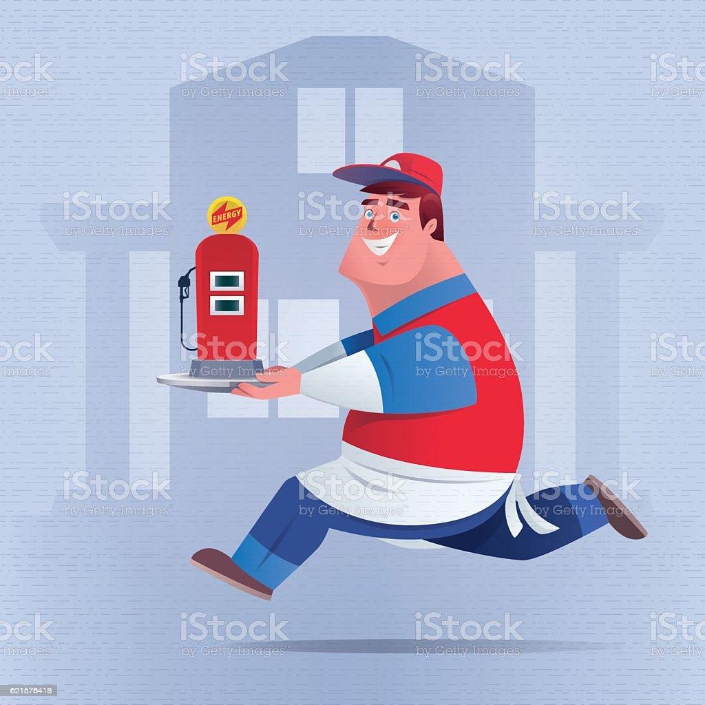 happy waiter delivering energy happy waiter delivering energy – cliparts vectoriels et plus d'images de aliment libre de droits