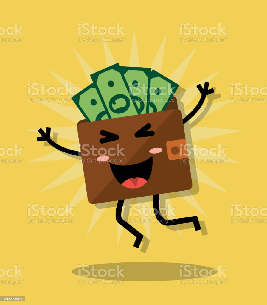 Happy wallet with money