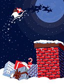 Happy Santa! A stylized vector  illustration of  Santa Claus waving from his sleigh flying over a chimney, reminiscent of screen print poster. Santa Face,hand, chimney, gifts, snow and background are on different layers for easy editing. Please note: clipping paths have been used,  an eps version is included without the path.