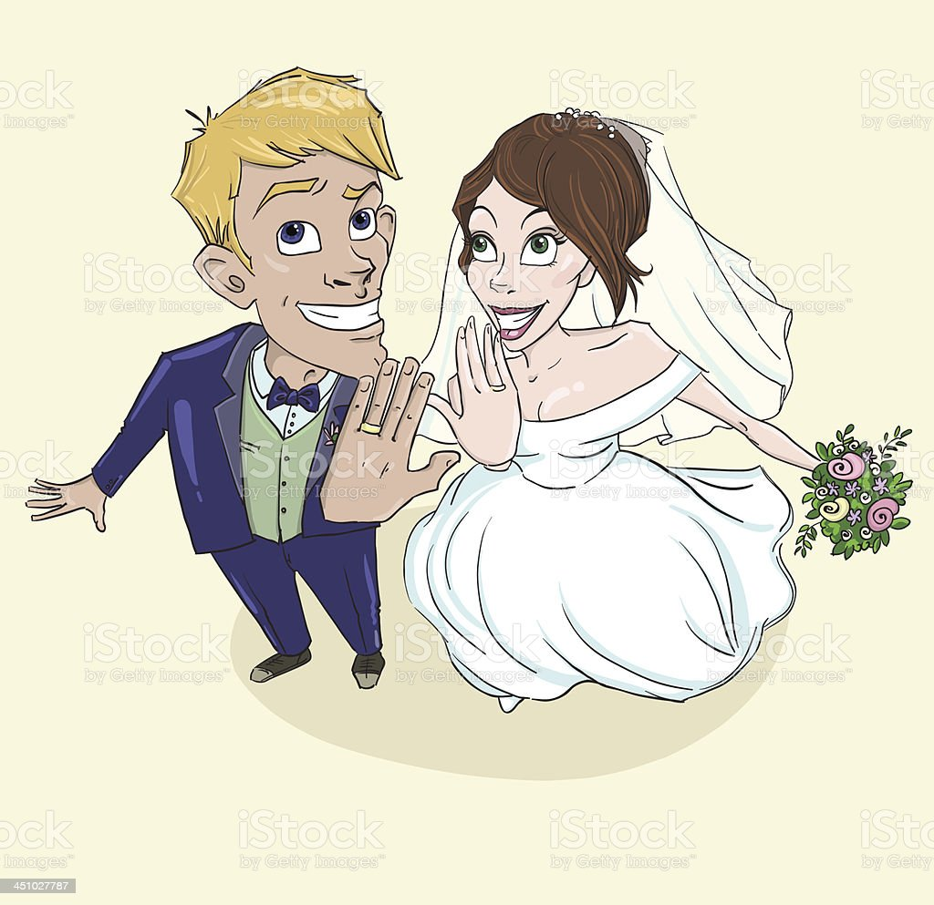 Happy Wedding Couple Just Married Stock Illustration Download Image Now Istock