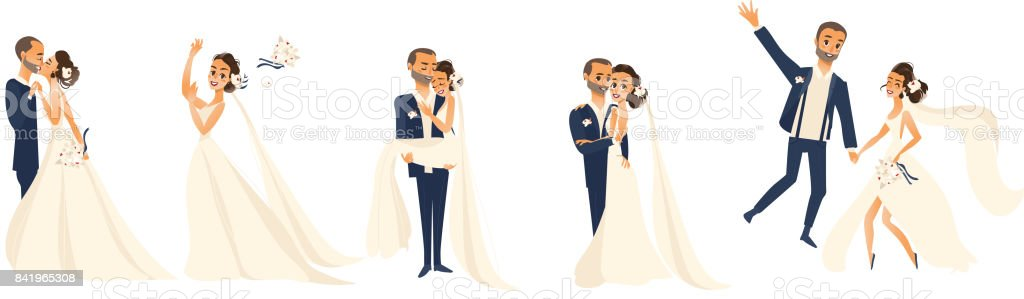 Happy wedding couple set, cartoon bride and groom vector art illustration