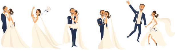 Happy wedding couple set, cartoon bride and groom vector art illustration