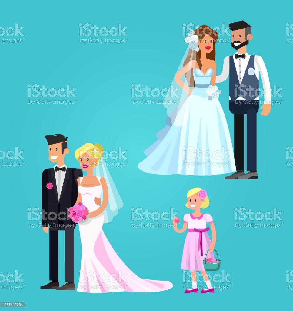 Happy wedding couple vector art illustration