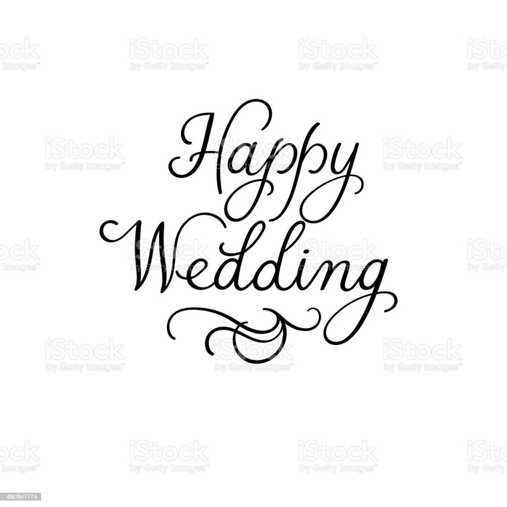 happy wedding modern calligraphy inscription wedding calligraphy vector heart calligraphy vector font