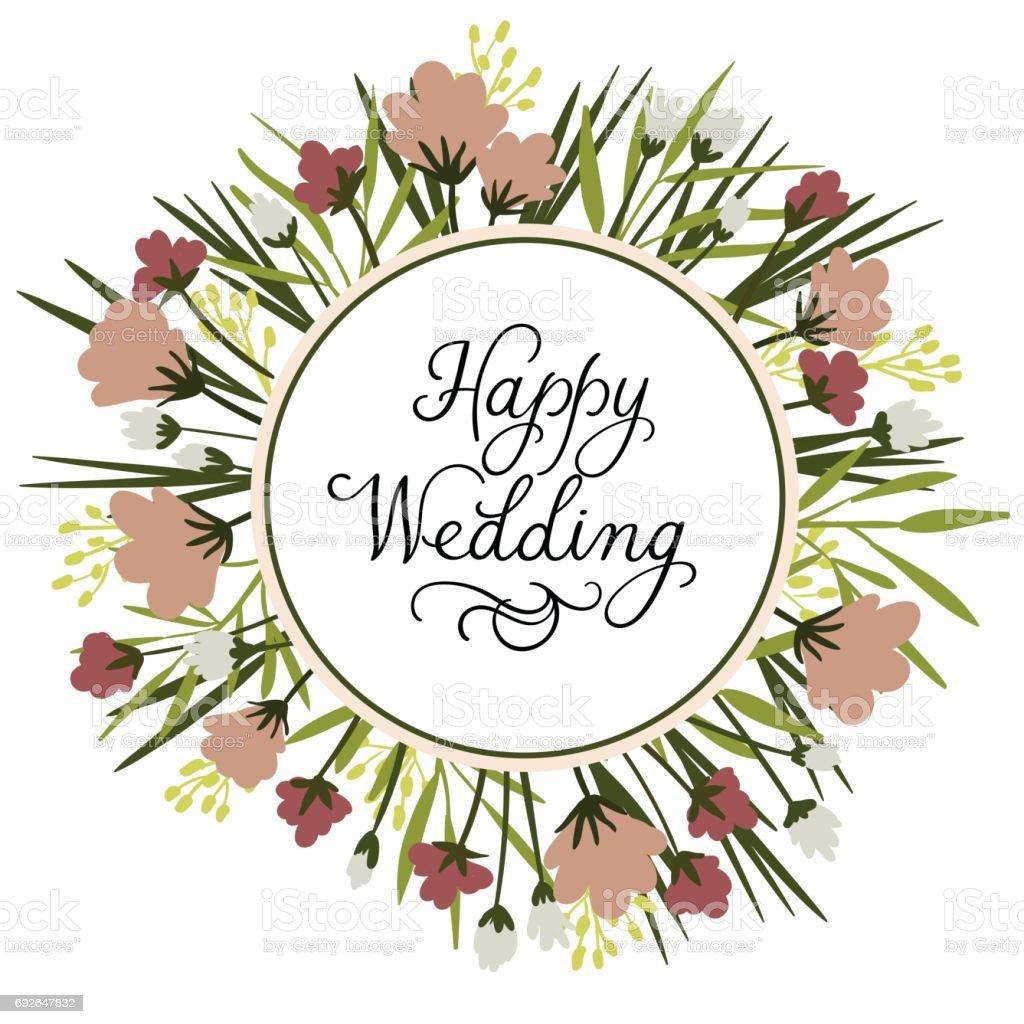happy wedding modern calligraphy inscription wedding
