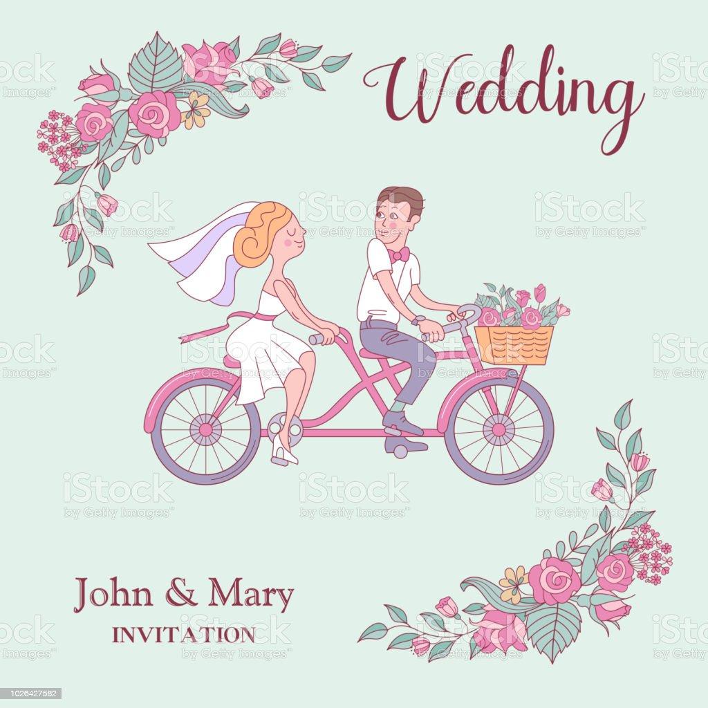 Glucklich Hochzeiten Vektorillustration Die Braut Und Der Brautigam