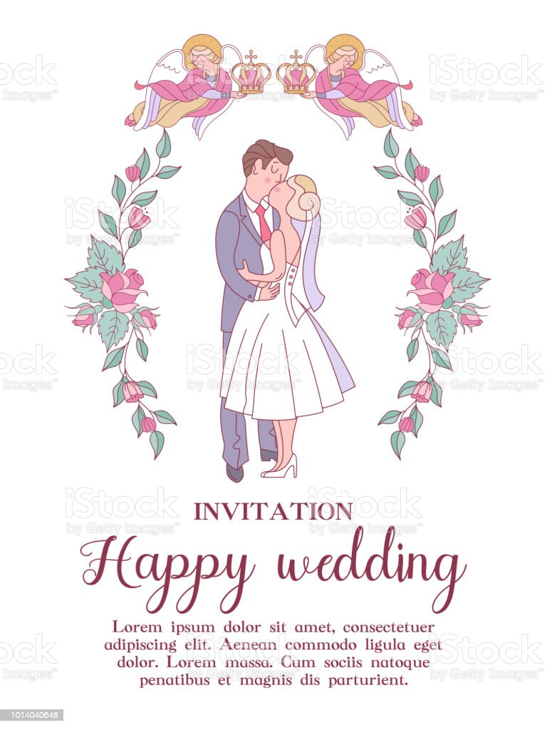 Happy Weddings Wedding Ceremony Wedding In Church Wedding Card Wedding Invitation Vector Illustration Stock Illustration Download Image Now Istock