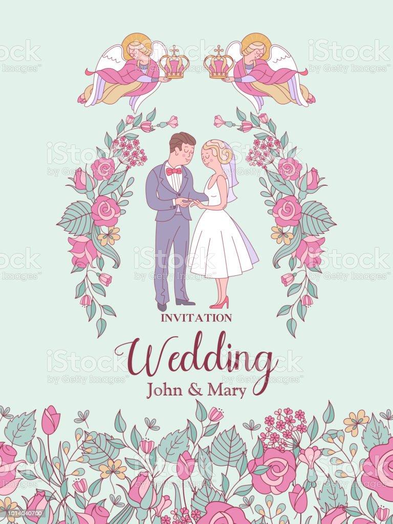 Happy Weddings Wedding Ceremony Wedding In Church Wedding Card Wedding Invitation Vector Illustration Stockowe Grafiki Wektorowe I Więcej Obrazów
