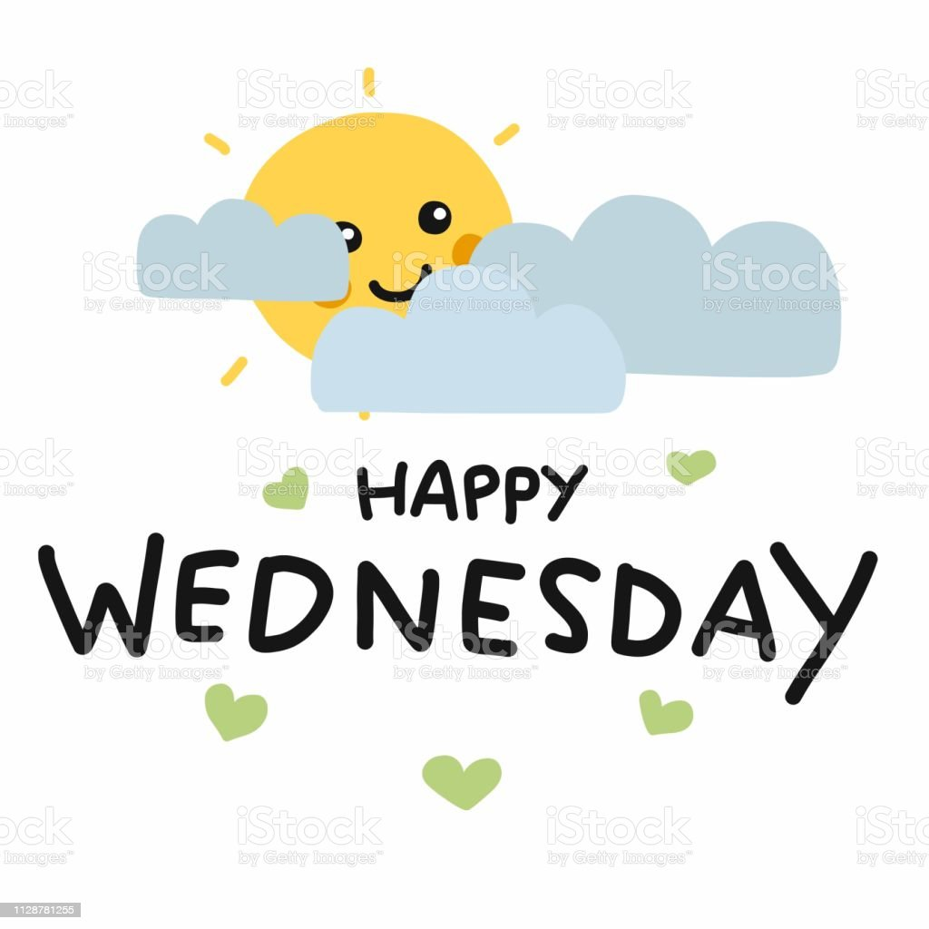 Happy Wednesday Cute Sun Smile And Cloud Cartoon Vector ...