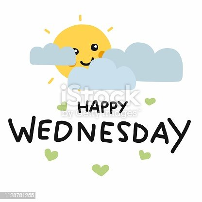 Happy Wednesday Cute Sun Smile And Cloud Cartoon Vector Illustration