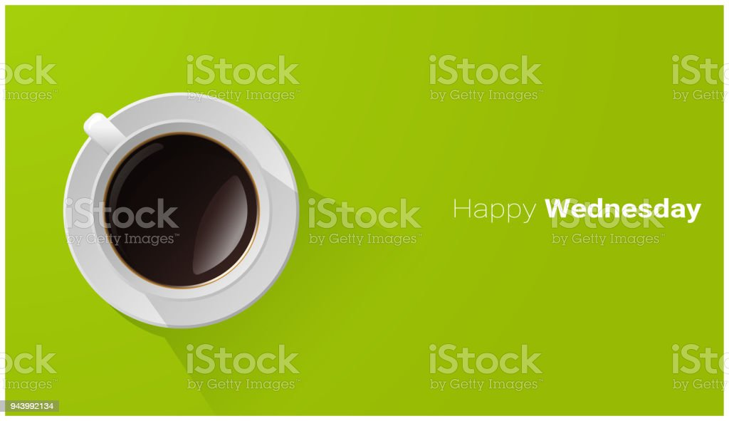 Happy Wednesday with top view of a cup of coffee on green background , vector , illustration royalty-free happy wednesday with top view of a cup of coffee on green background vector illustration stock illustration - download image now