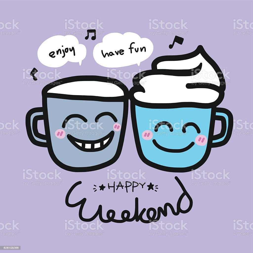 Happy weekend coffee cup cartoon illustration - ilustração de arte em vetor