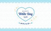 "Happy White Day 3.14 Greeting Card Vector illustration. Heart banner on blue polka dot background. Japanese Translation: "" White day"""