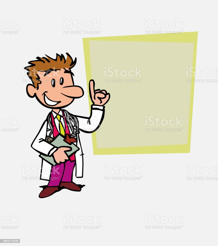 happy white doctor is showing, as in a presentation, the data you want. He has a folder in his hand. royalty-free happy white doctor is showing as in a presentation the data you want he has a folder in his hand stock vector art & more images of care
