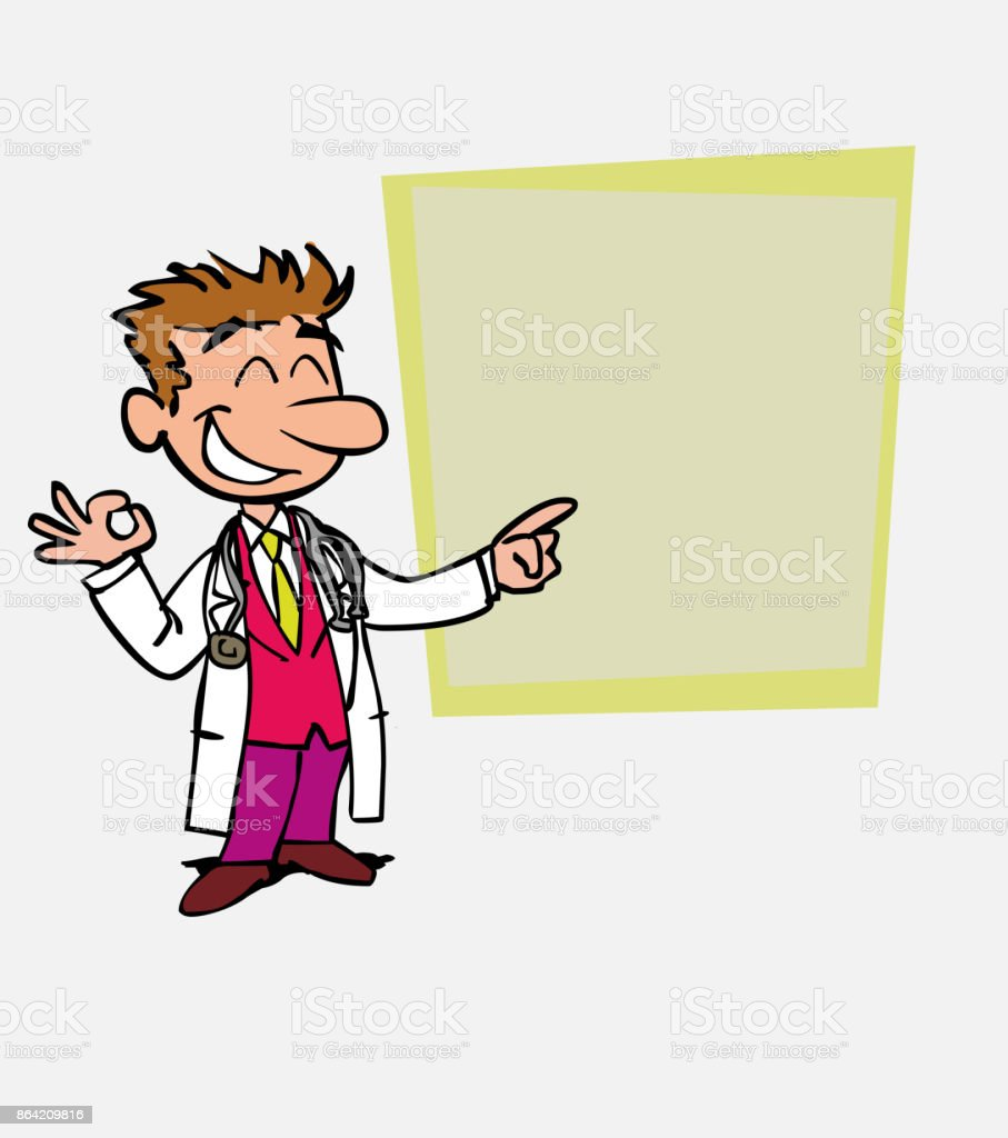 Happy white doctor makes the gesture of ok. Is showing, as in a presentation, the data you want. royalty-free happy white doctor makes the gesture of ok is showing as in a presentation the data you want stock vector art & more images of care