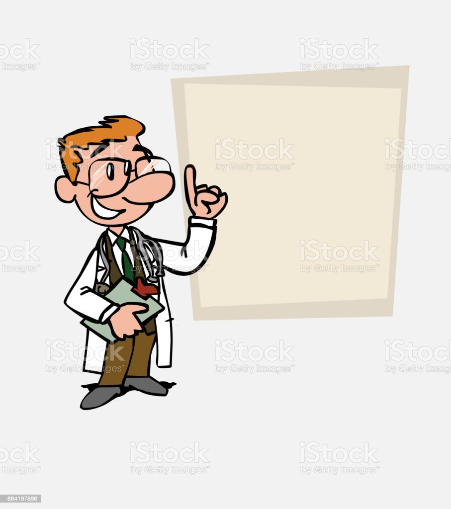 happy White doctor with glasses is showing, as in a presentation, the data you want. He has a folder in his hand. royalty-free happy white doctor with glasses is showing as in a presentation the data you want he has a folder in his hand stock vector art & more images of care