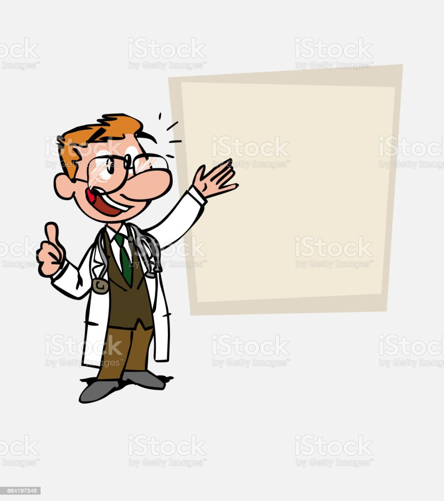 Happy White doctor with glasses makes the gesture of ok. Is showing, as in a presentation, the data you want. royalty-free happy white doctor with glasses makes the gesture of ok is showing as in a presentation the data you want stock vector art & more images of care