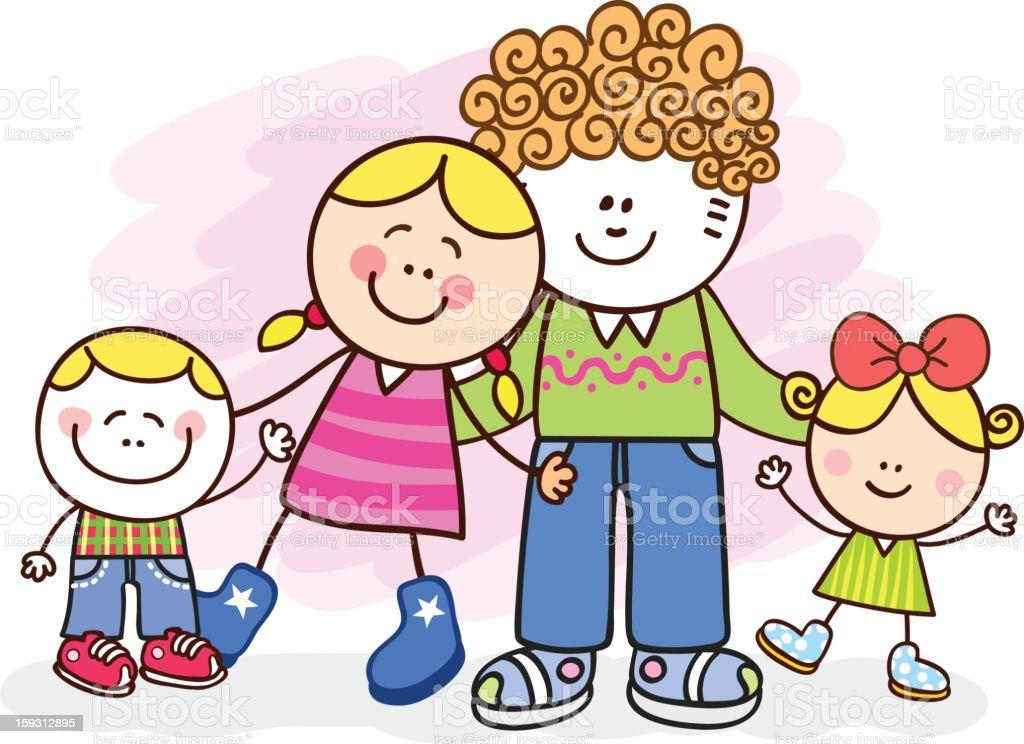 Feliz Familia Posando En Blanco Vector Ilustración Dibujo