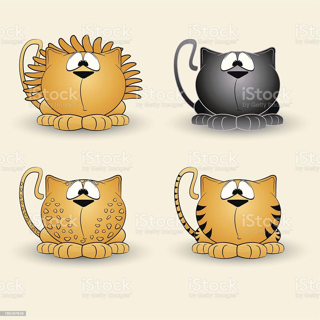 Happy Wild Cats royalty-free stock vector art