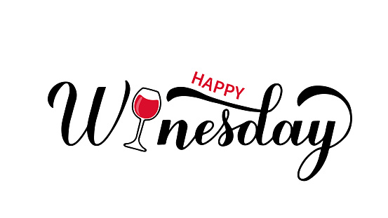 Happy Winesday calligraphy hand lettering with glass of wine. Funny drinking quote. Wine pun typography poster. Vector  template for flyer, banner, sticker, label, t-shirt, etc