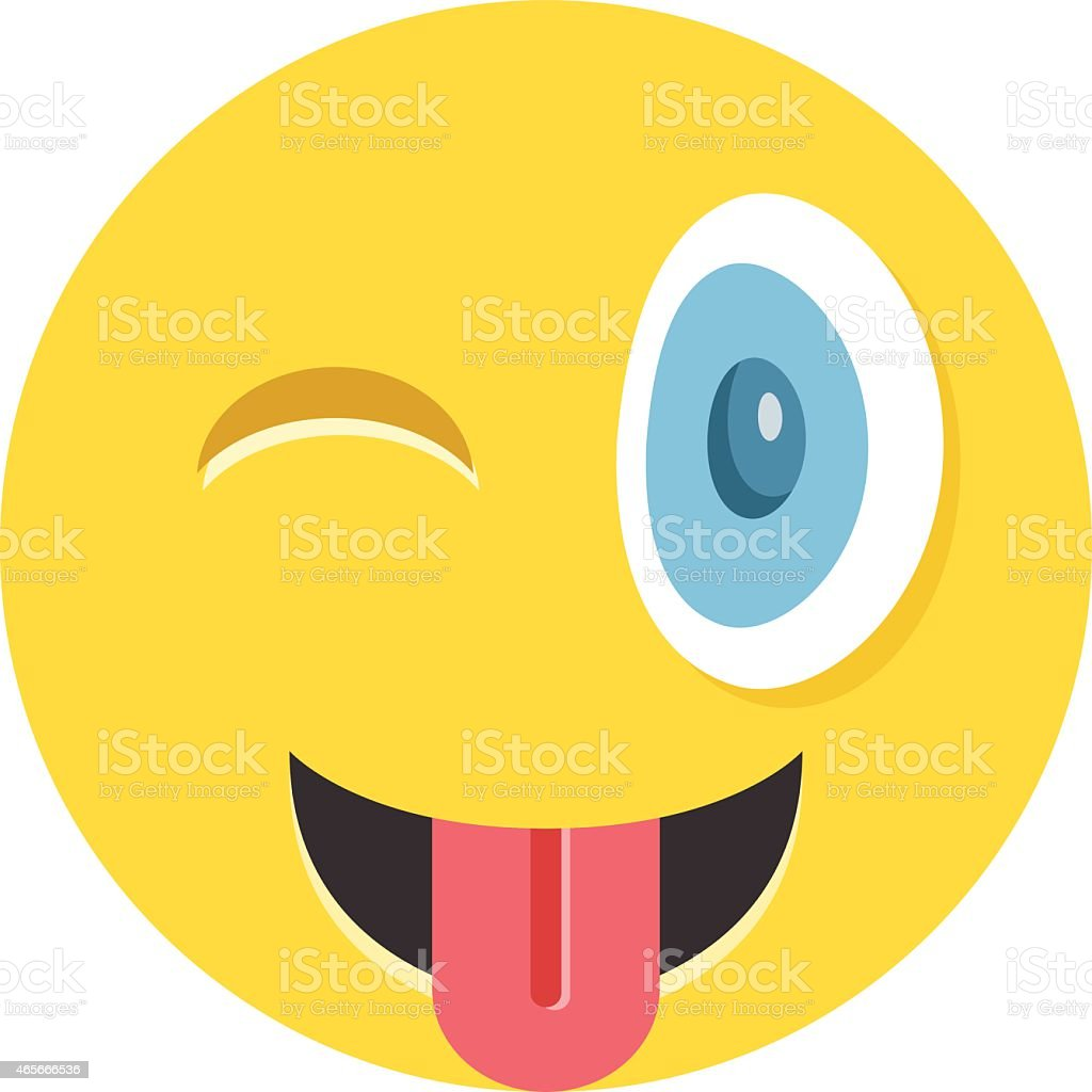 Happy winking emoticon with protruding tongue vector art illustration