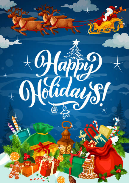 happy winter holidays poster with gifts on snow - happy holidays stock illustrations, clip art, cartoons, & icons