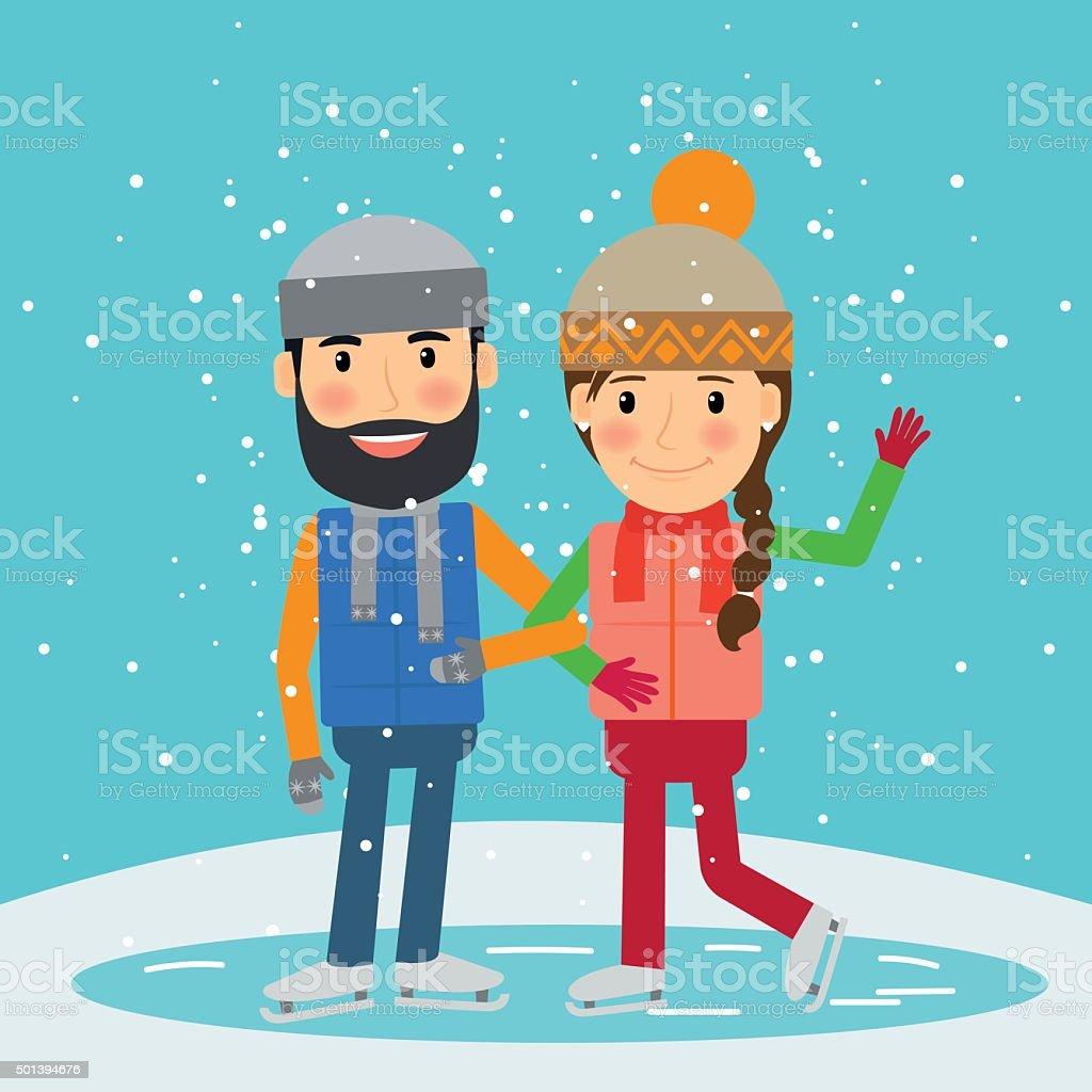 冬の期間でます若いカップルスケート のイラスト素材 501394676 | istock