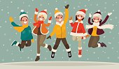 Happy winter vacation. Warmly dressed people in the jump. The concept of active rest and joyful pastime. Vector illustration in a flat style