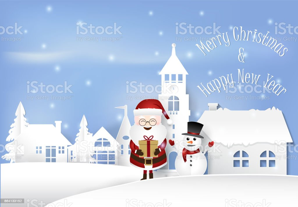 Happy winter with santa holding gift box in city town paper art illustration. Christmas and new year season, paper cut style royalty-free happy winter with santa holding gift box in city town paper art illustration christmas and new year season paper cut style stock vector art & more images of backgrounds