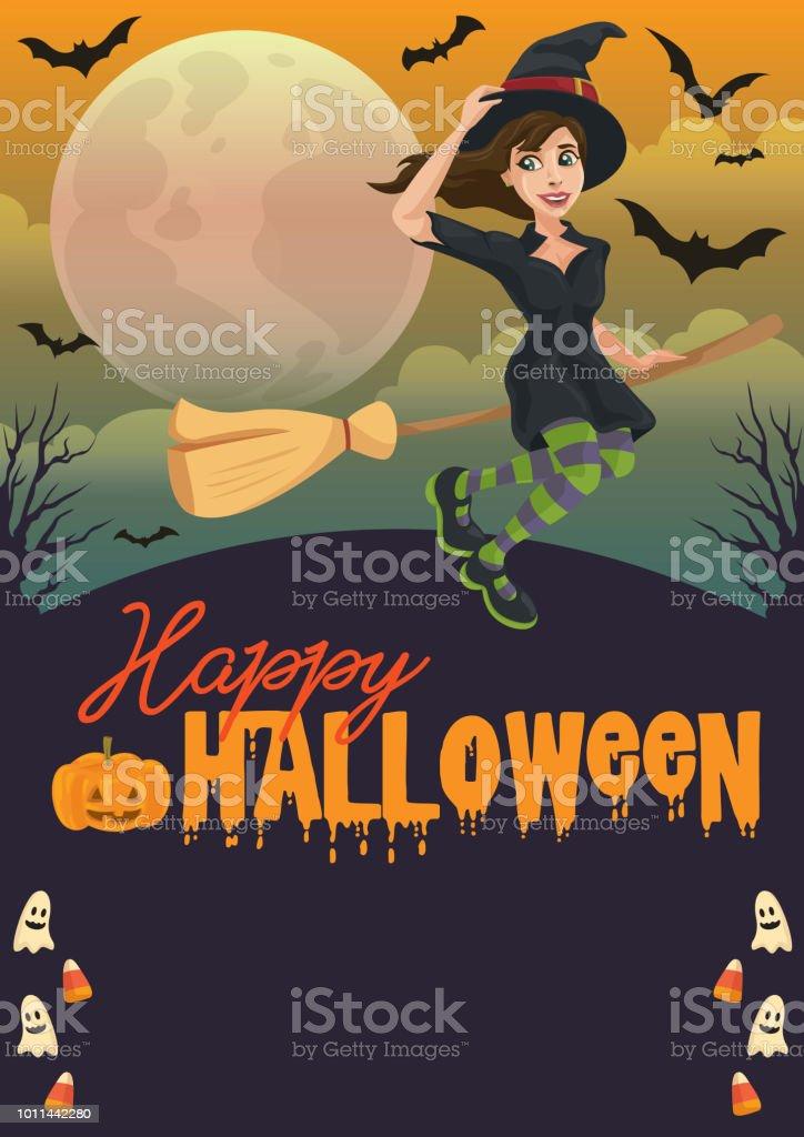 Happy Witching Halloween vector art illustration