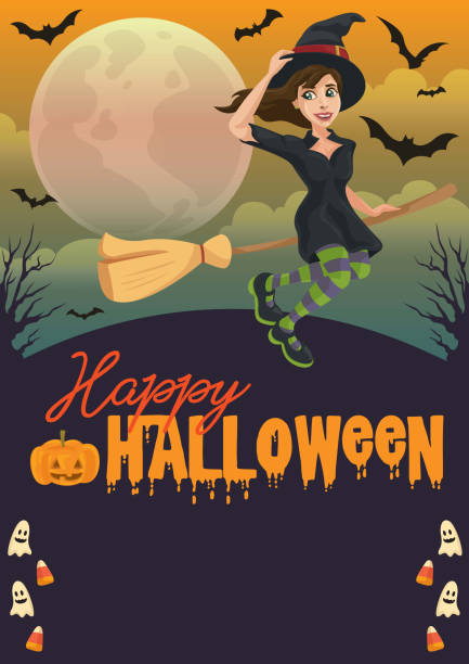 Happy Witching Halloween vector art illustration