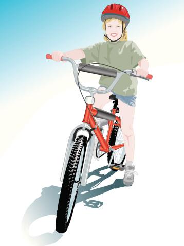 Счастливый С Мой Новый Велосипед — стоковая векторная графика и другие изображения на тему В полный рост