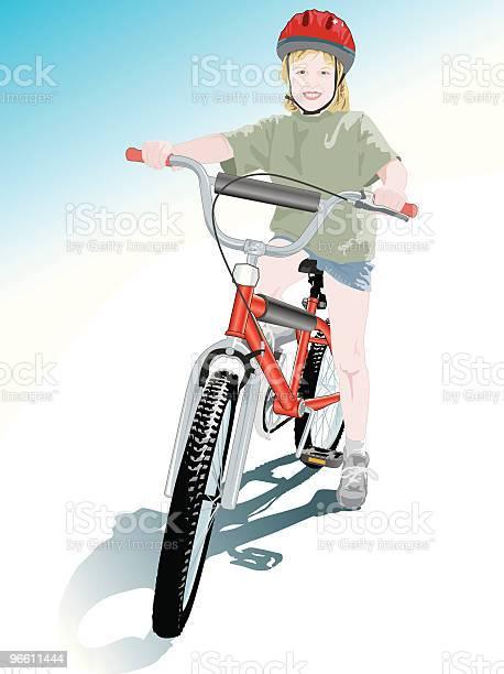 Счастливый С Мой Новый Велосипед — стоковая векторная графика и другие изображения на тему Кататься на велосипеде