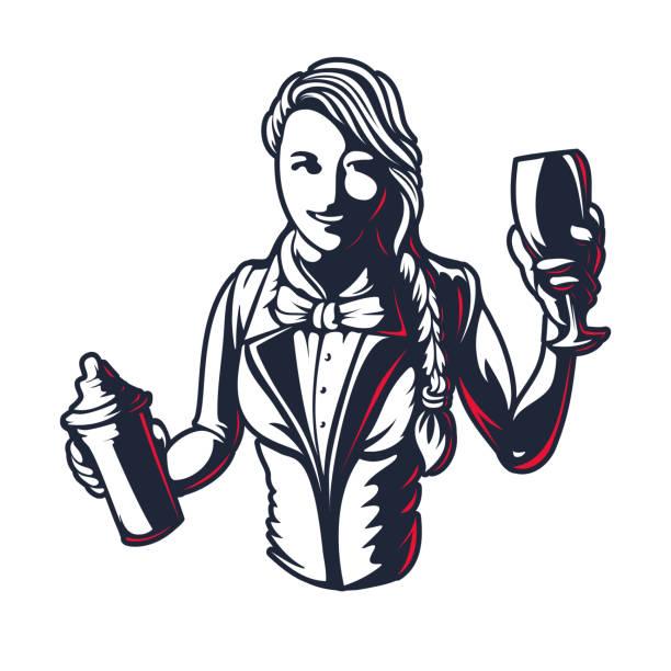행복 한 여자 바텐더 또는 바텐더 젊은 여자 작업 실루엣에서 셰이 커 오래 새겨진 된 스타일 복고풍 빈티지 그래픽 디자인 로고 템플릿 스탬프 흰색 배경에 고립 - bartender stock illustrations