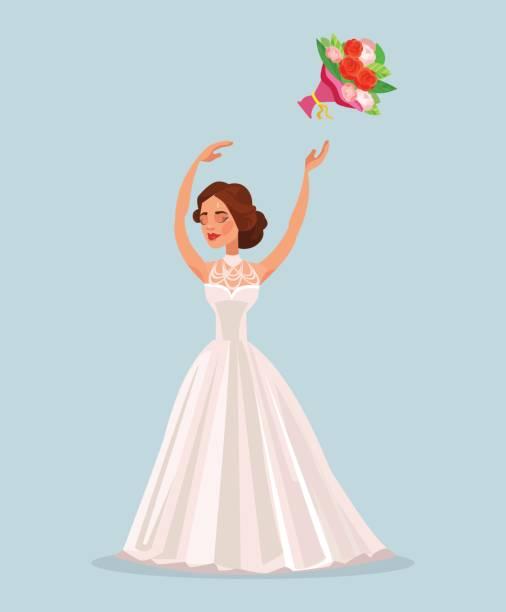 glückliche frau braut charakter werfen blumenstrauß blumen in derhochzeit - rosenhochzeitskleider stock-grafiken, -clipart, -cartoons und -symbole
