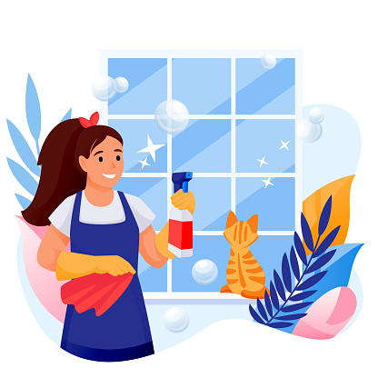 Happy woman cleans window. Young girl with red cat makes housework. Vector flat cartoon character illustration