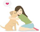 Happy woman crouching down, hugging dog