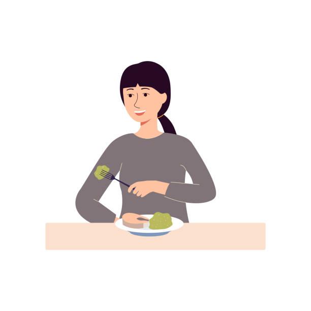 ilustrações de stock, clip art, desenhos animados e ícones de happy woman eating food and smiling - female cartoon character - woman eating salmon
