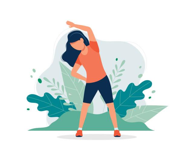 illustrazioni stock, clip art, cartoni animati e icone di tendenza di happy woman exercising in the park. vector illustration in flat style, concept illustration for healthy lifestyle, sport, exercising. - esercizio fisico