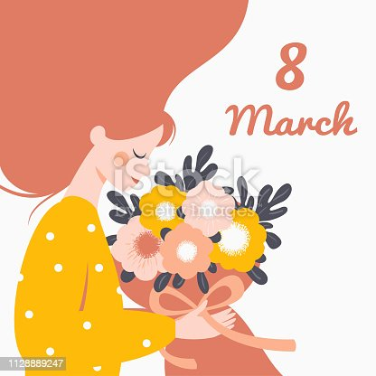 Happy woman holding a bouquet of flowers. Vector festive concept for International Women's day 8 March