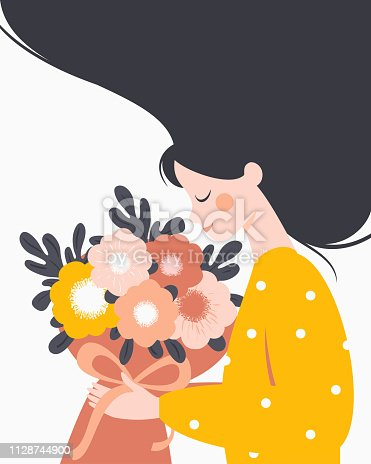 Happy woman holding a bouquet of flowers. Vector festive concept for International Women's day, Mother's day.