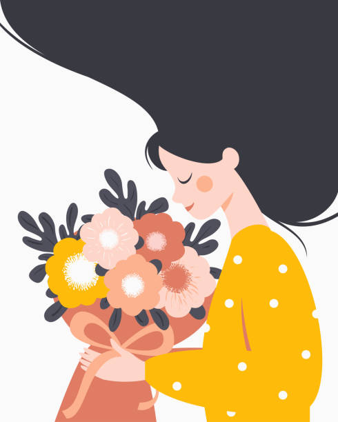 happy woman holding a bouquet of flowers. - young women stock illustrations