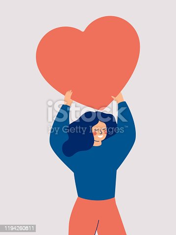 Happy woman holding a red big heart above her head isolated on white background. Flat vector illustration.