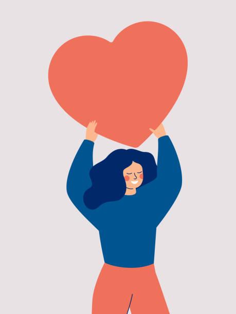 ilustrações, clipart, desenhos animados e ícones de mulher feliz que prende um coração grande vermelho acima de sua cabeça isolada no fundo branco. - woman happy