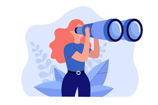 Happy woman holding huge tourists binocular
