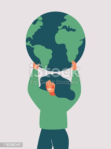 Happy woman holds the green planet Earth. Vector illustration of Earth day and saving planet. Environment conservation and energy saving