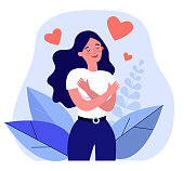 Happy woman hugging herself. Positive lady expressing self love and care. Vector illustration for love yourself, body positive, confidence concept